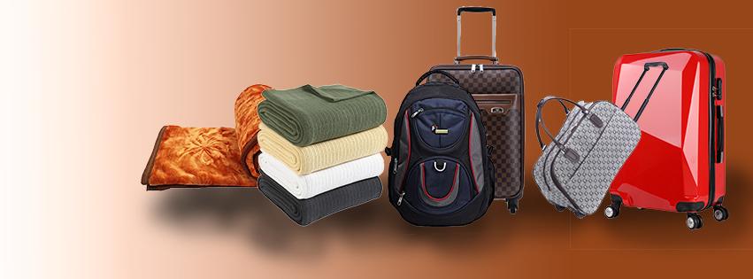 Trolley bags, school bags, Blankets